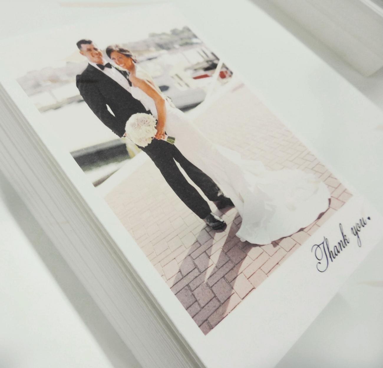 Thank you cards - 90# Crane cotton white. Designed by Ali Schroder |Stephanie Bradshaw