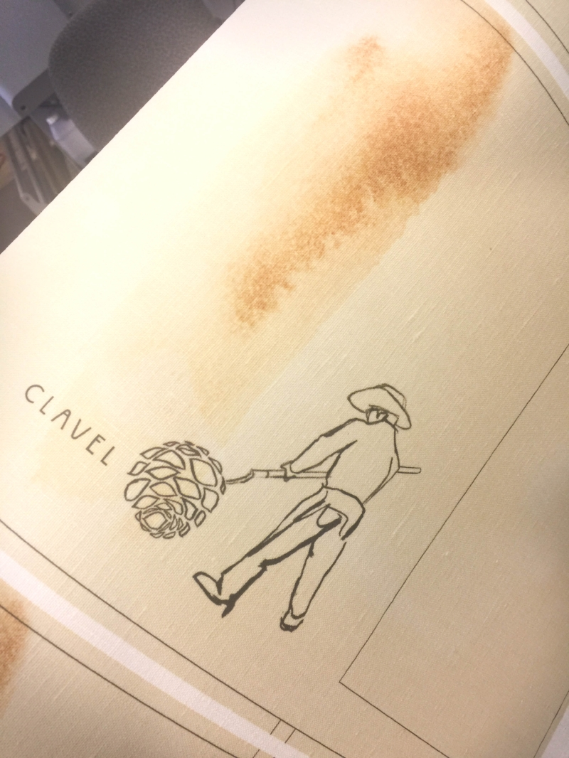 Printed linen book covers for Clavel