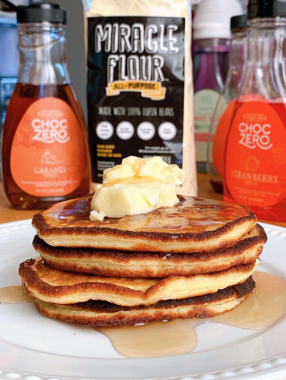 Fluffy Pancakes with  Caramel ChocZero Syrup .