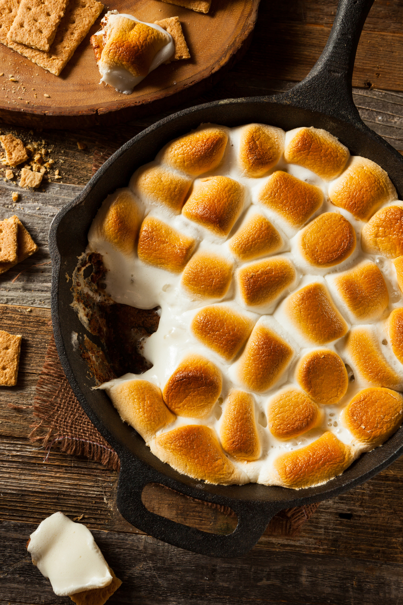 Pan S'mores are so easy and great for sharing with a crowd, just pop some sugar free chocolate chips in an oven proof pan, top with marshmallows and toast in the oven.