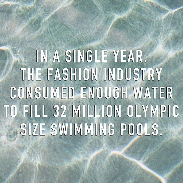 In 2015 alone, the fashion industry consumed 79 billion cubic meters of water which equates to filling 32 million Olympic size swimming pools 😰 You can help combat some of this by washing your clothes only when truly necessary and by always doing a full load. Better yet– hand washing with minimal soap and reusing that same mixture for multiple garments. You can control your water usage and less soap means less rinsing💦 Save that water for keeping cool this summer 😎