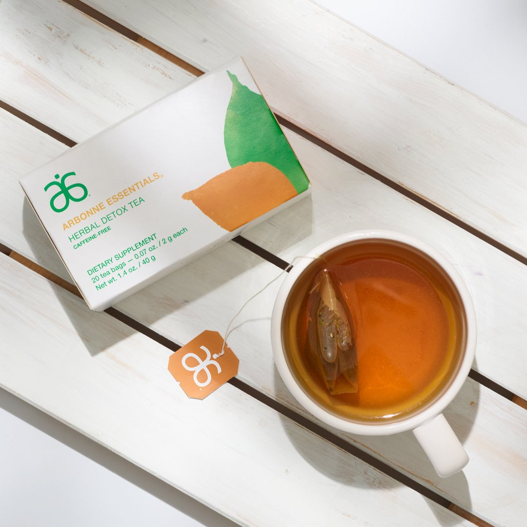HERBAL DETOX TEA   Drink to your health. Take time each day to enjoy this delicious, mild, caffeine-free herbal tea with 9 botanicals that support the liver and kidneys.