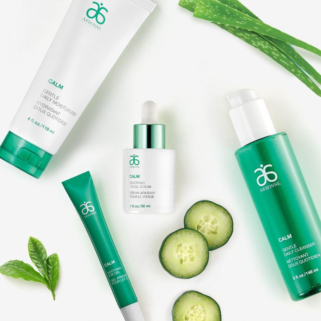CALM COLLECTION - FOR SENSITIVE SKIN   Extra gentle, non-comedogenic products free of color and fragrance, work together to relieve skin sensitivity, dryness and tightness through moisturization. This line contains naturally derived and food grade ingredients.