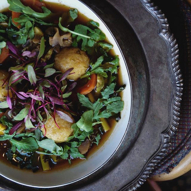 sunday dinner calls for comfort food ❤️ our yucca dumplings in a savory broth with roasted veggies radish and baby arugula hits the spot! #platefortheplanet and start your #meatlessmonday off early 😉