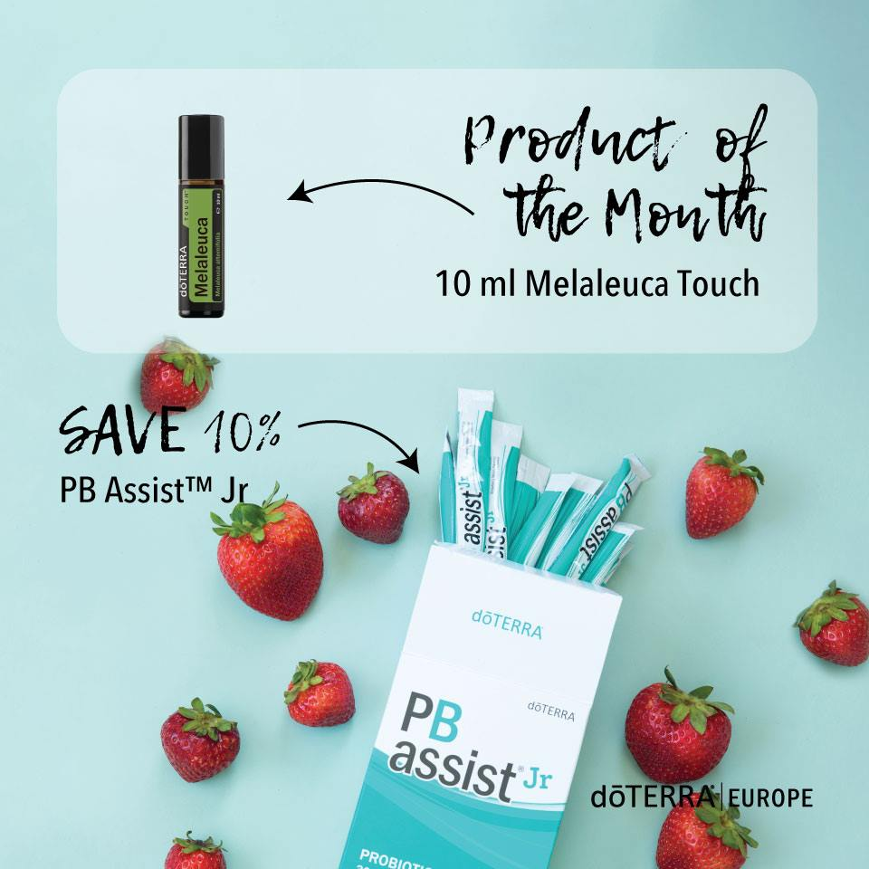 Receive the FREE Product of the Month - 10ml Melaleuca Touch - by placing an LRP order of 125PV or more between 1st -15th June.Save 10% when you purchase PB Assist Junior. -