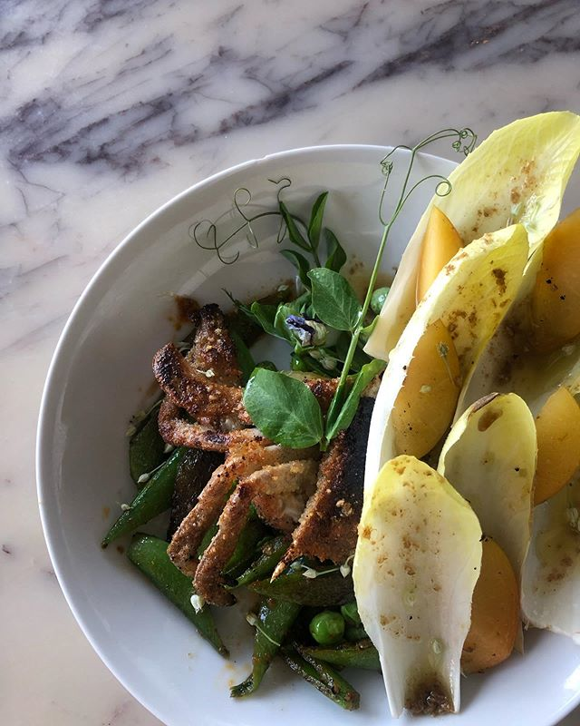 almond meal salt & pepper soft shell crab ~ cherry plum ~ peas