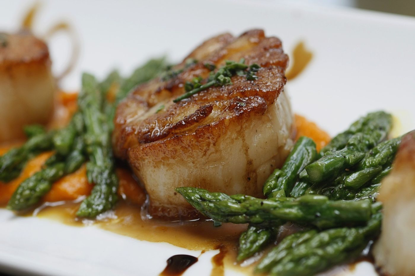 Scallops with heirloom carrot puree, asparagus, and aged balsamic vinegar. (Gary Friedman / Los Angeles Times)