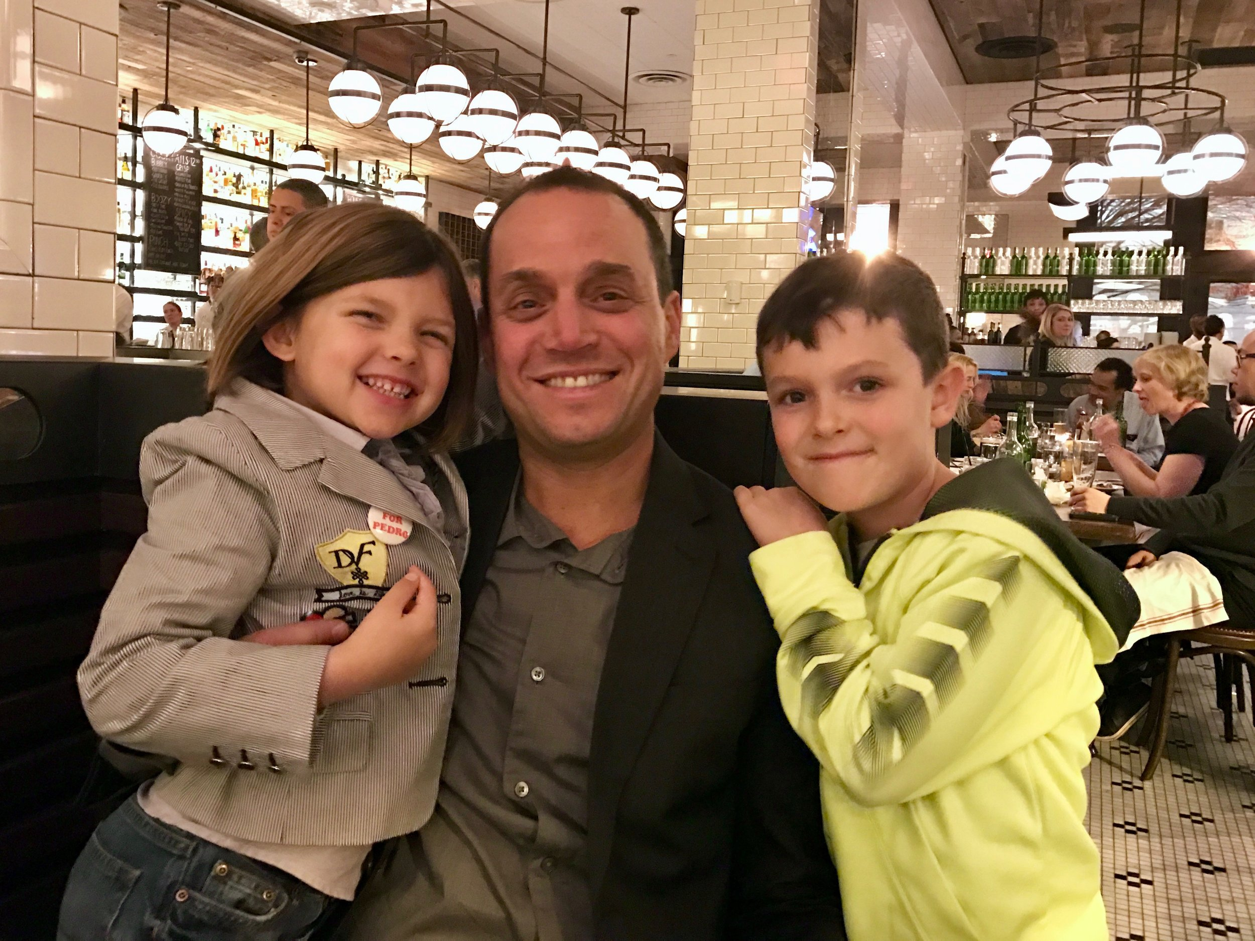 Jeff Lefcourt, co-owner of    The Smith   , with two of his three kiddos in his New York City restaurant.