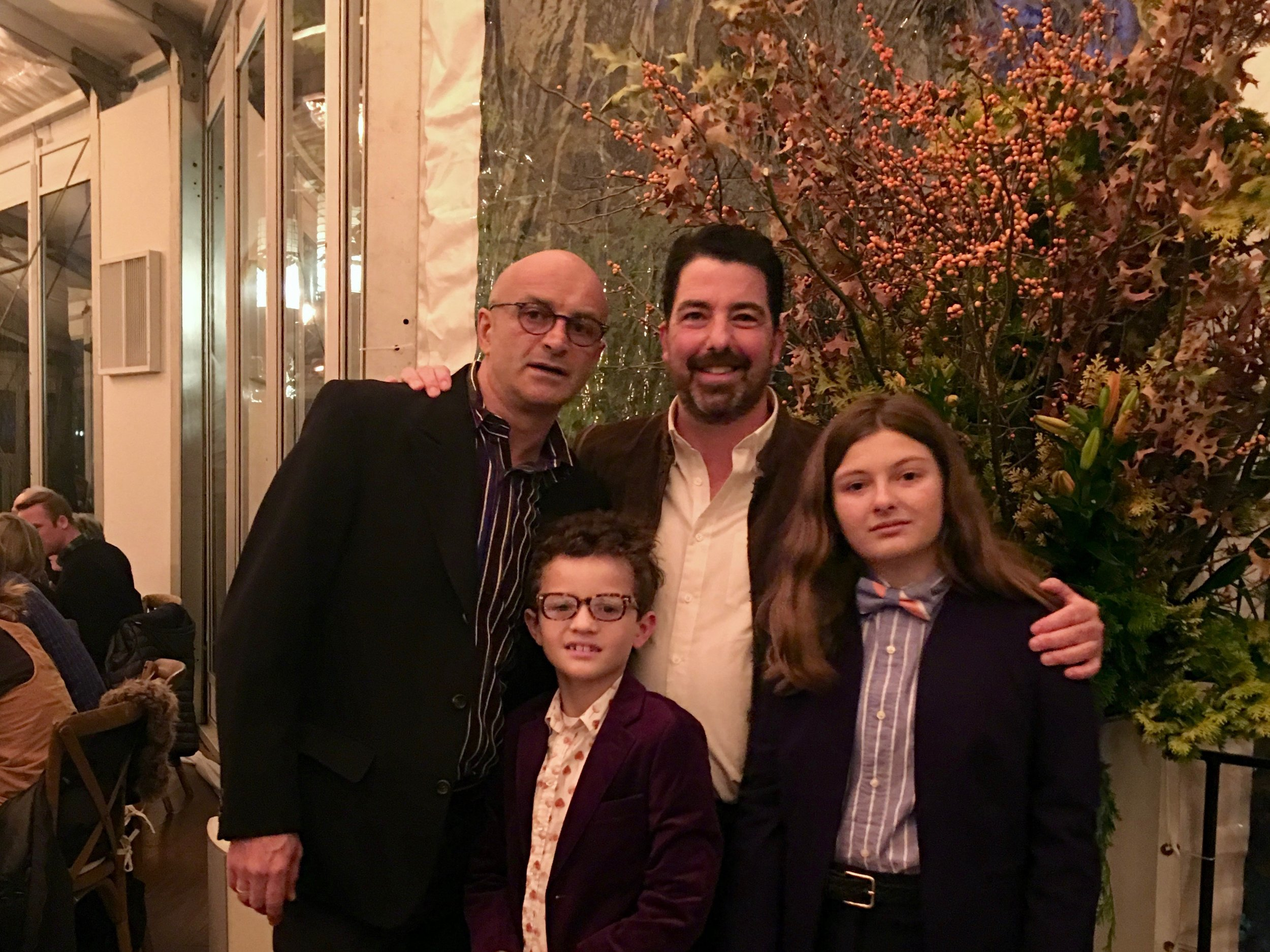 Jim Caiola (right) and David Salama (left), co-proprietors of New York's Tavern on the Green with their kids Leonardo (7) and Georgia (10).