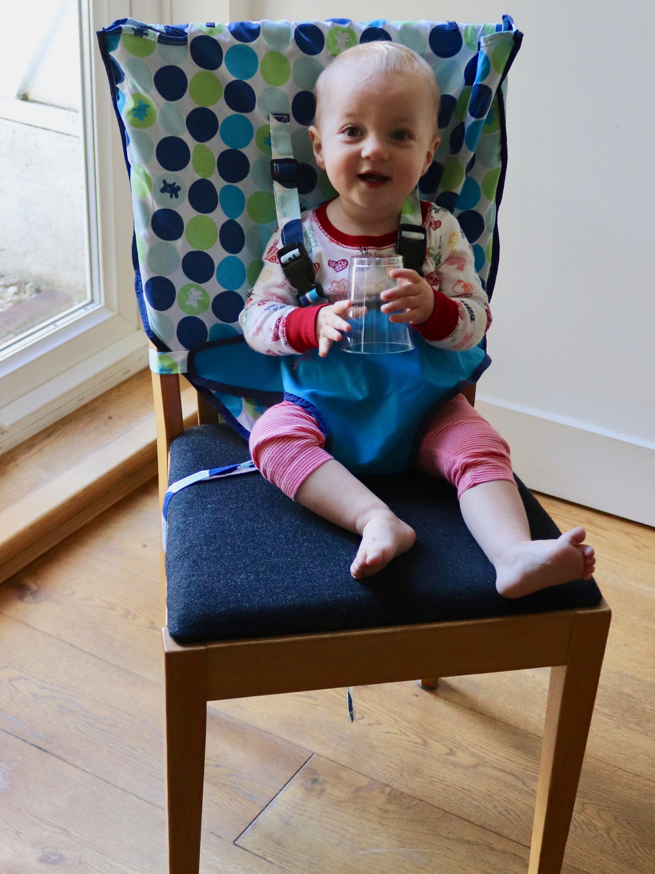 Ready to chow:   The My Little Seat Travel Highchair.