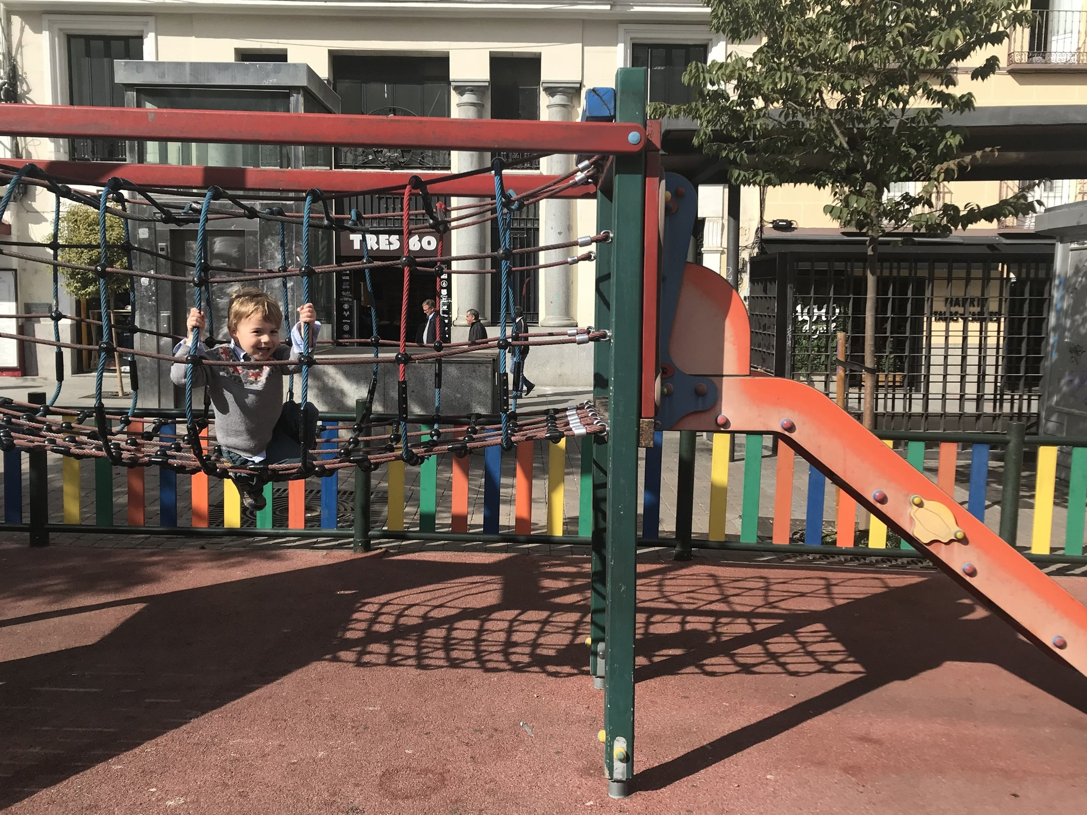 Emergency pit stops:  Thanks to tips from the  Mom and Baby Madrid  Facebook group, I was able to map out parks and kid-friendly finds close to our Airbnb in Central Madrid. The playgrounds were far from fancy—and some would have required a Covenant Not To Sue in the U.S.—but they did the trick.