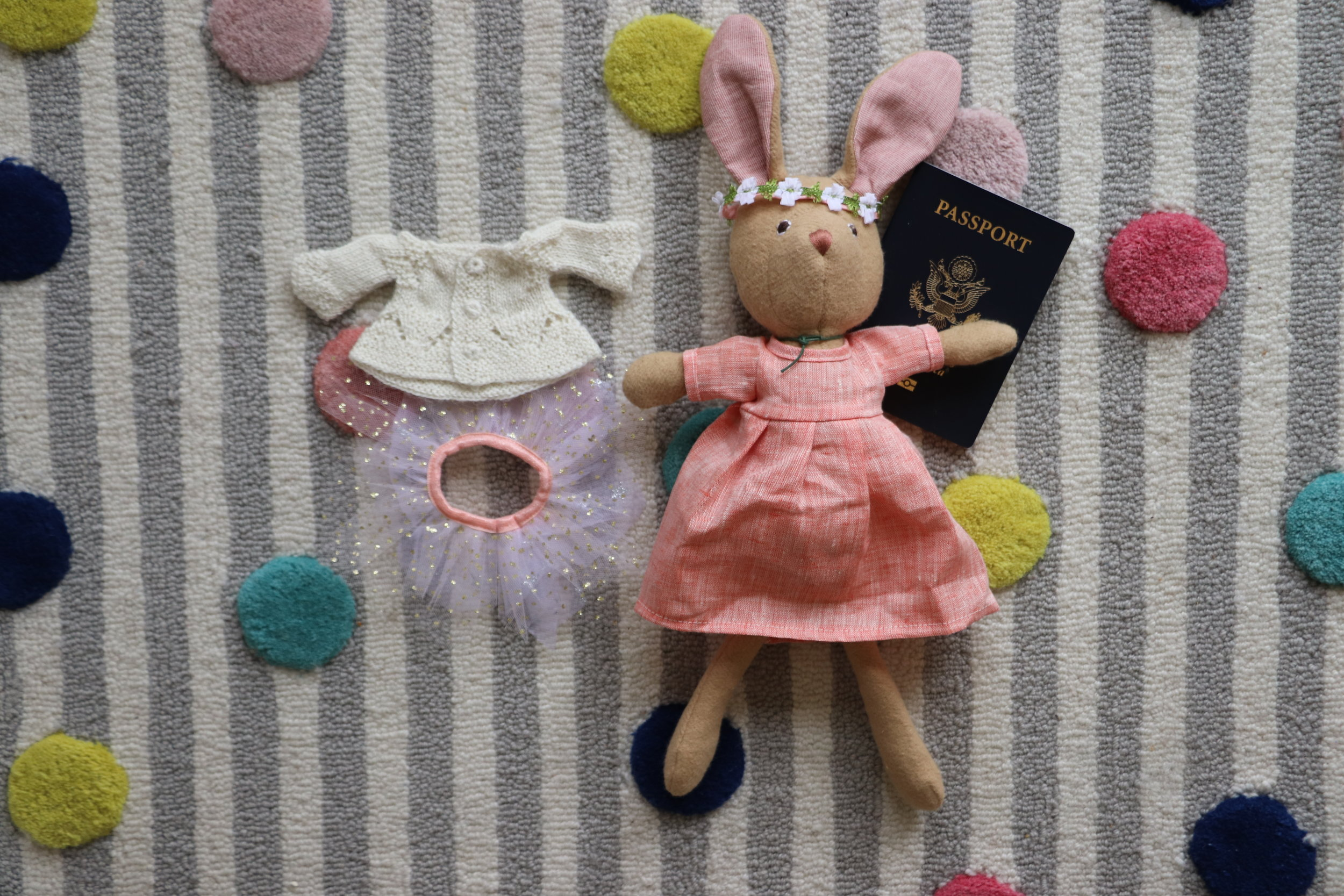 Hazel Village Woodland Friends  : Juliette Rabbit is dressed up for her trip to the Big Apple, and is packing her firefly tutu—just in case the MET makes the itinerary.