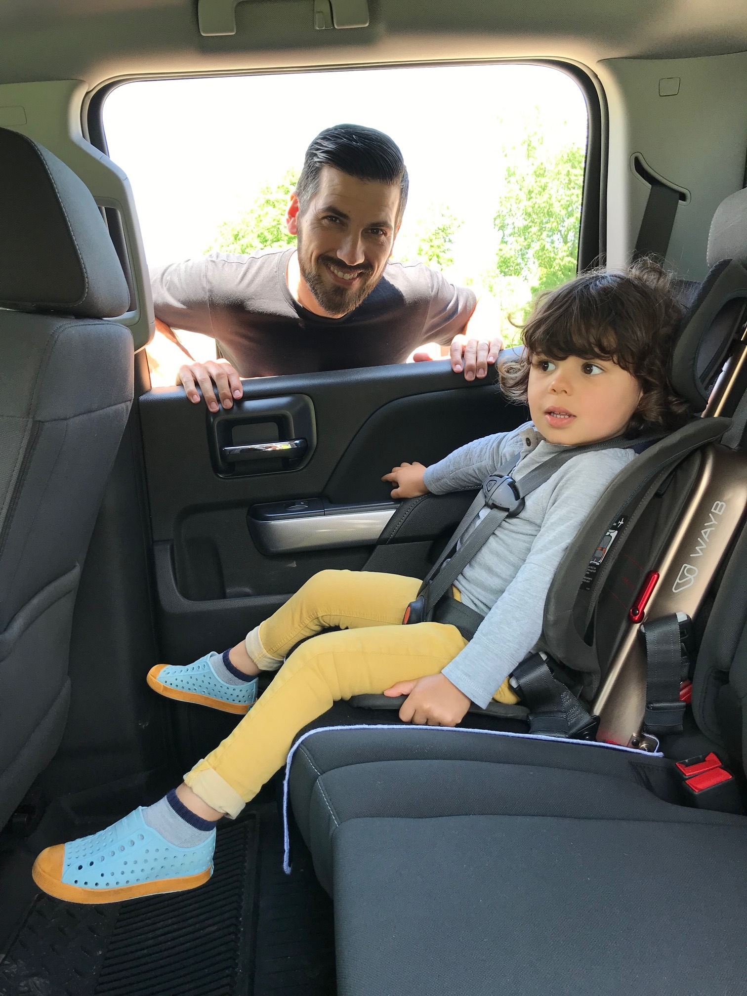 Ready to ride:  Kitson strapped into the new  Pico  car seat.