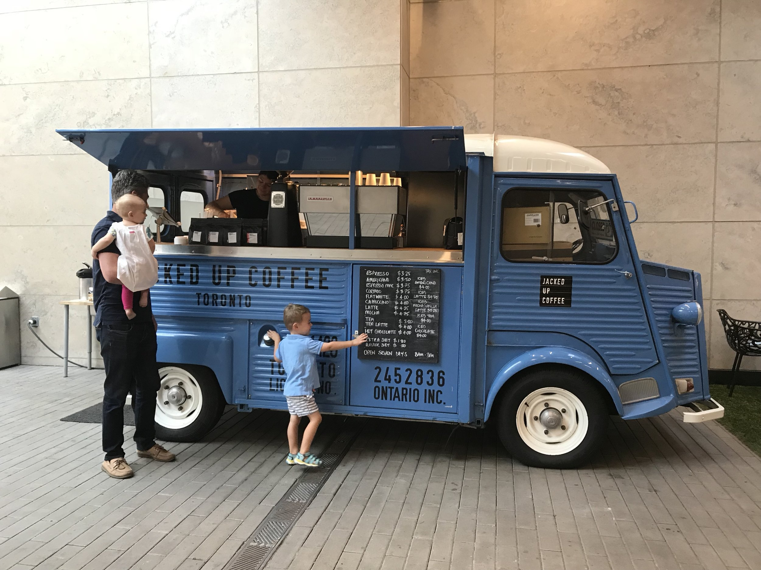 Make it a Double:  This central coffee truck serves superb pick-me-ups along a covered pedestrian thoroughfare.