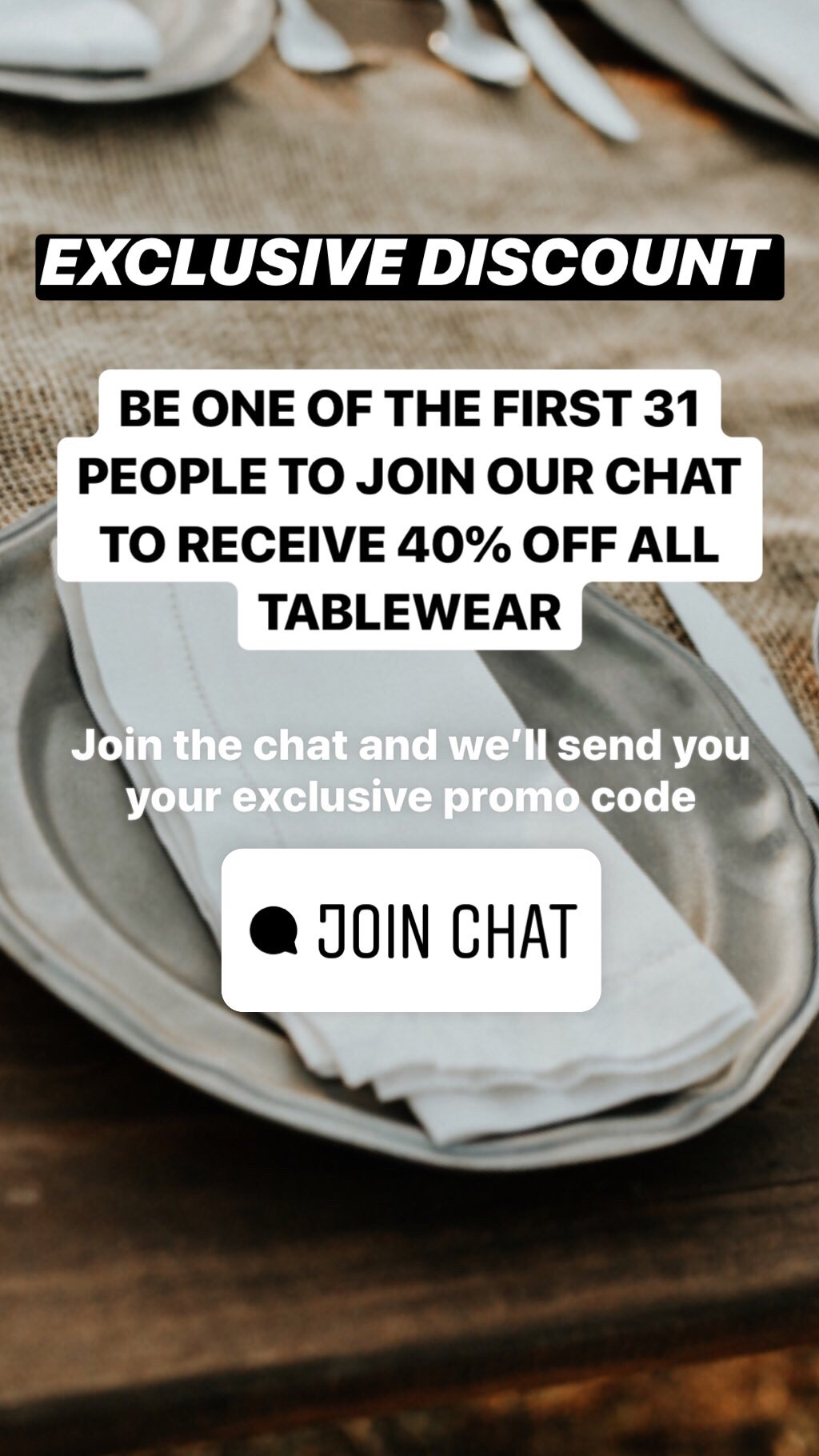 Share an exclusive promo code