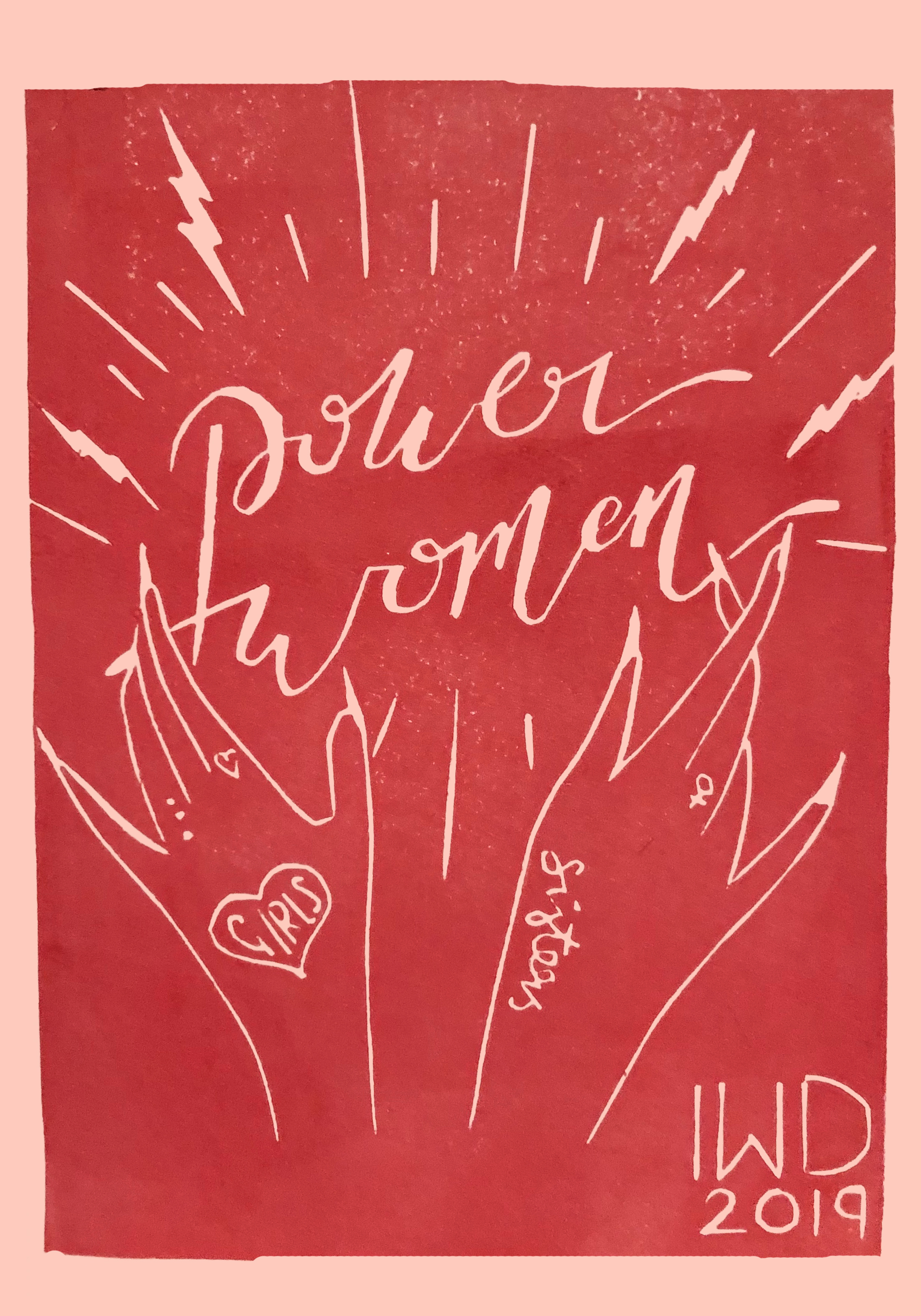 IWD 2019EVENT POSTCARDS - Handmade illustration that was lino-printed as an A6 postcards for the Makers academy International Women's day events 2019. The bold illustration focused on the magic that women hold and the bond between sisters & women supporting each other.