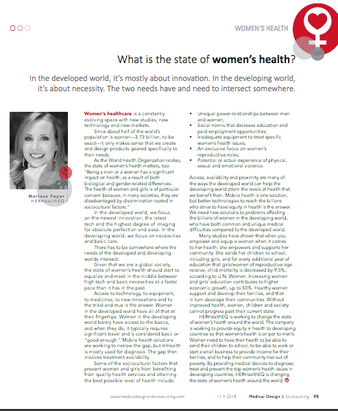 CEO Marissa Fayer included in the Medtech Women of the year publication and included on the list. Find her full article in the November issue of Medical Design & Outsourcing page 95.