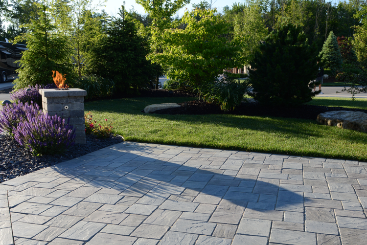 Brick patio with stunning brick pavers in West Bloomfield Township, MI