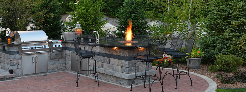 Stunning outdoor kitchen and outdoor fireplace in Troy, MI