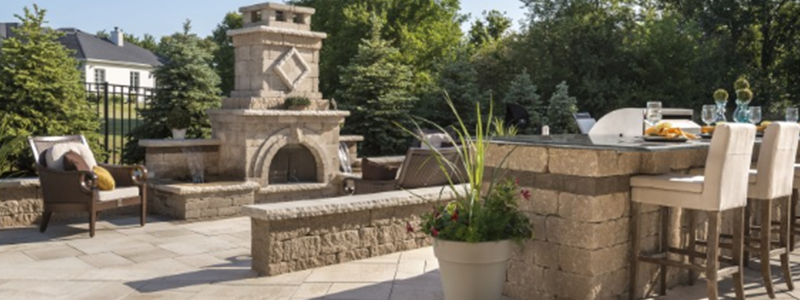 Beautiful brick patio with outdoor fireplace in Sterling Heights, MI