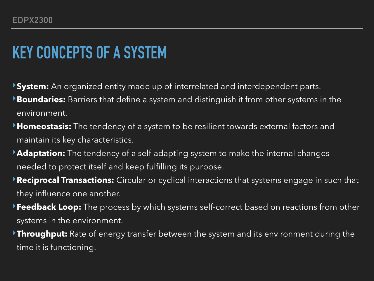 Key Concepts of a System