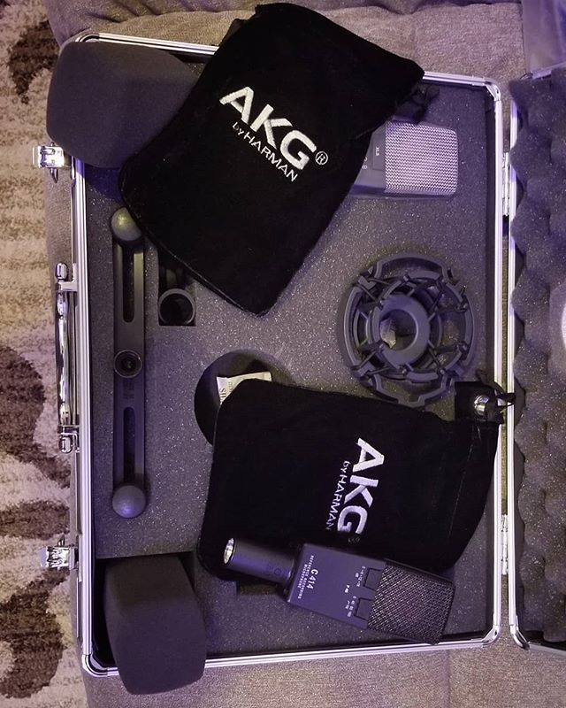 About to record some acoustic guitars for a beautiful ballad! These mics are surr to be a go to for many great songs to come! @akgaudio #414 #motwon #detroit #firstrecordingsession
