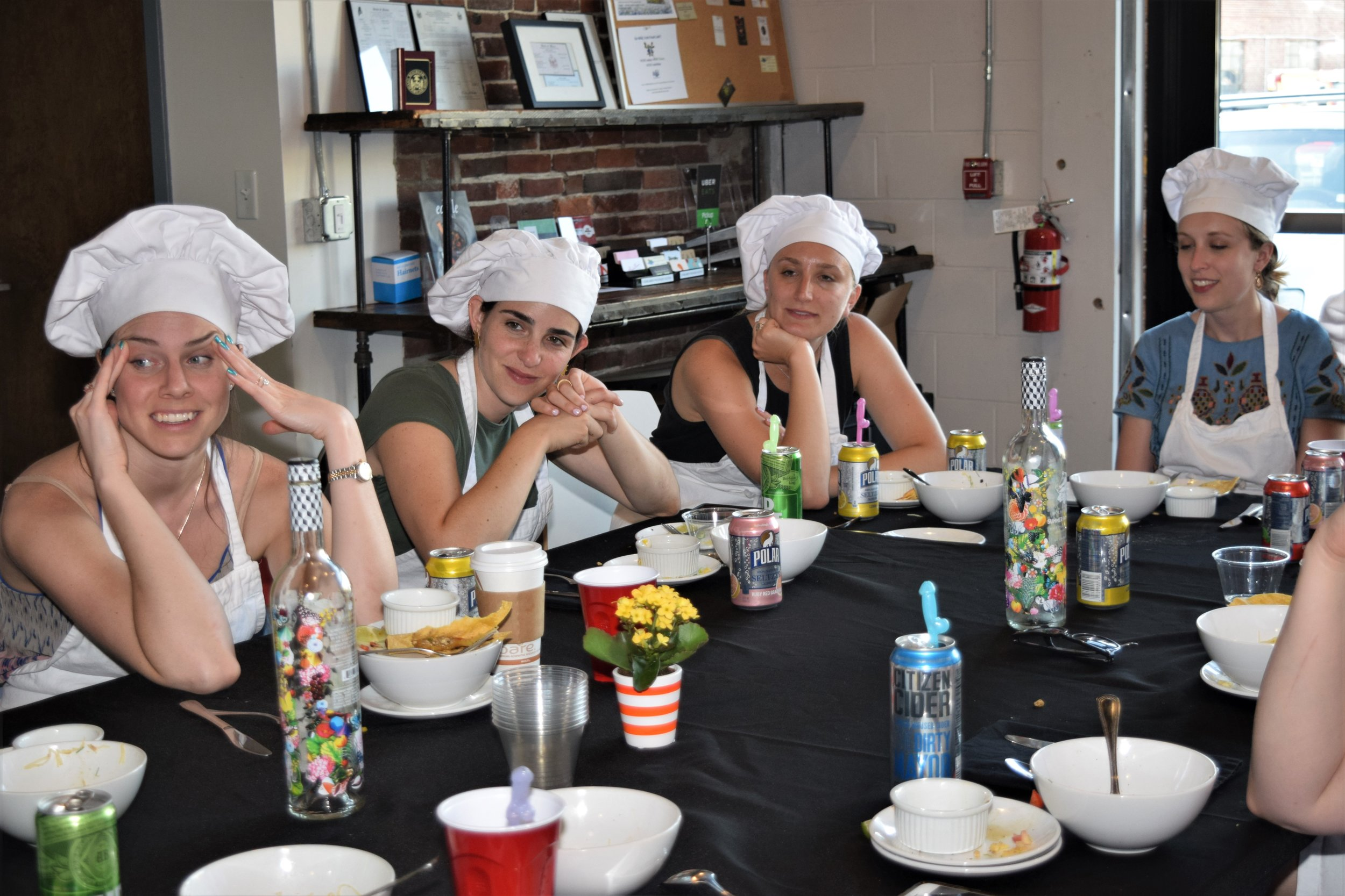 Bachelorette party sits down to eat together