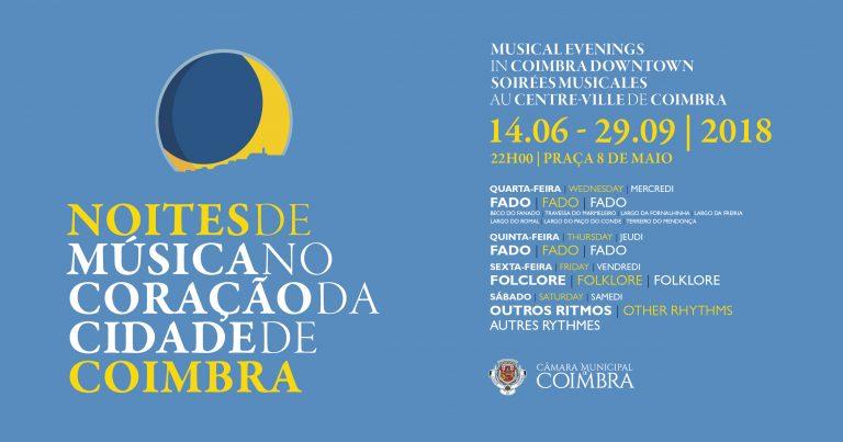 Mais Informações:https://www.cm-coimbra.pt/index.php/areas-de-intervencao/cultura/agenda/item/5981-noites-de-musica-no-coracao-da-cidade-de-coimbra-animam-o-verao-de-2018