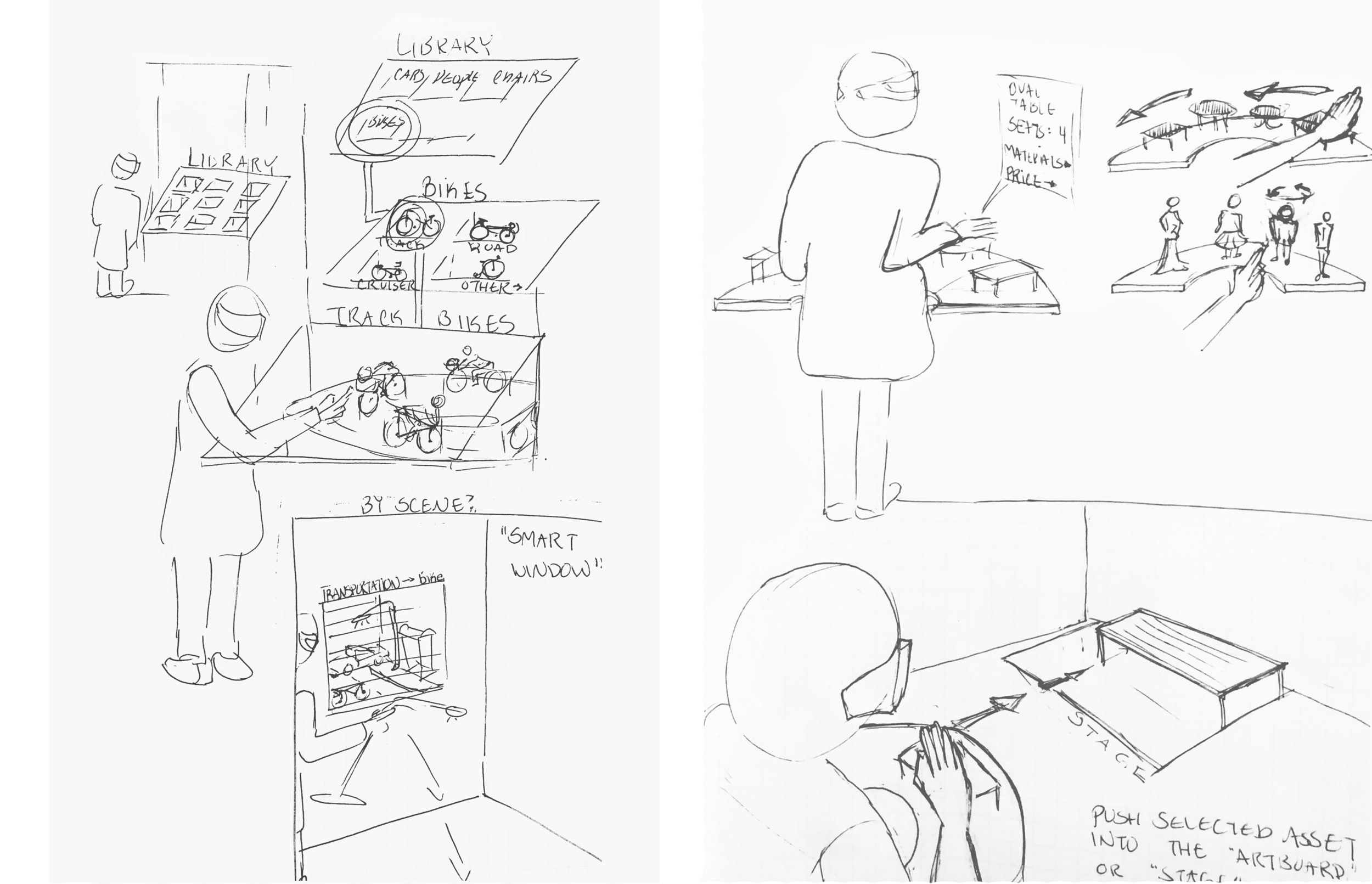 Sketches for object library and asset selection flows
