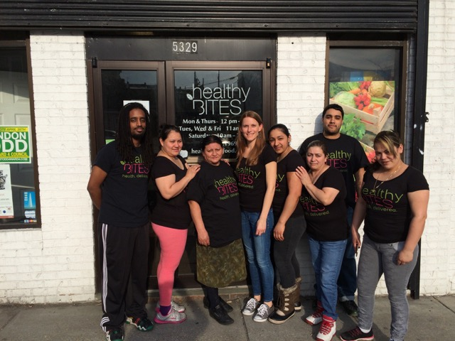 Kitchen and cashier team at Healthy Bites.