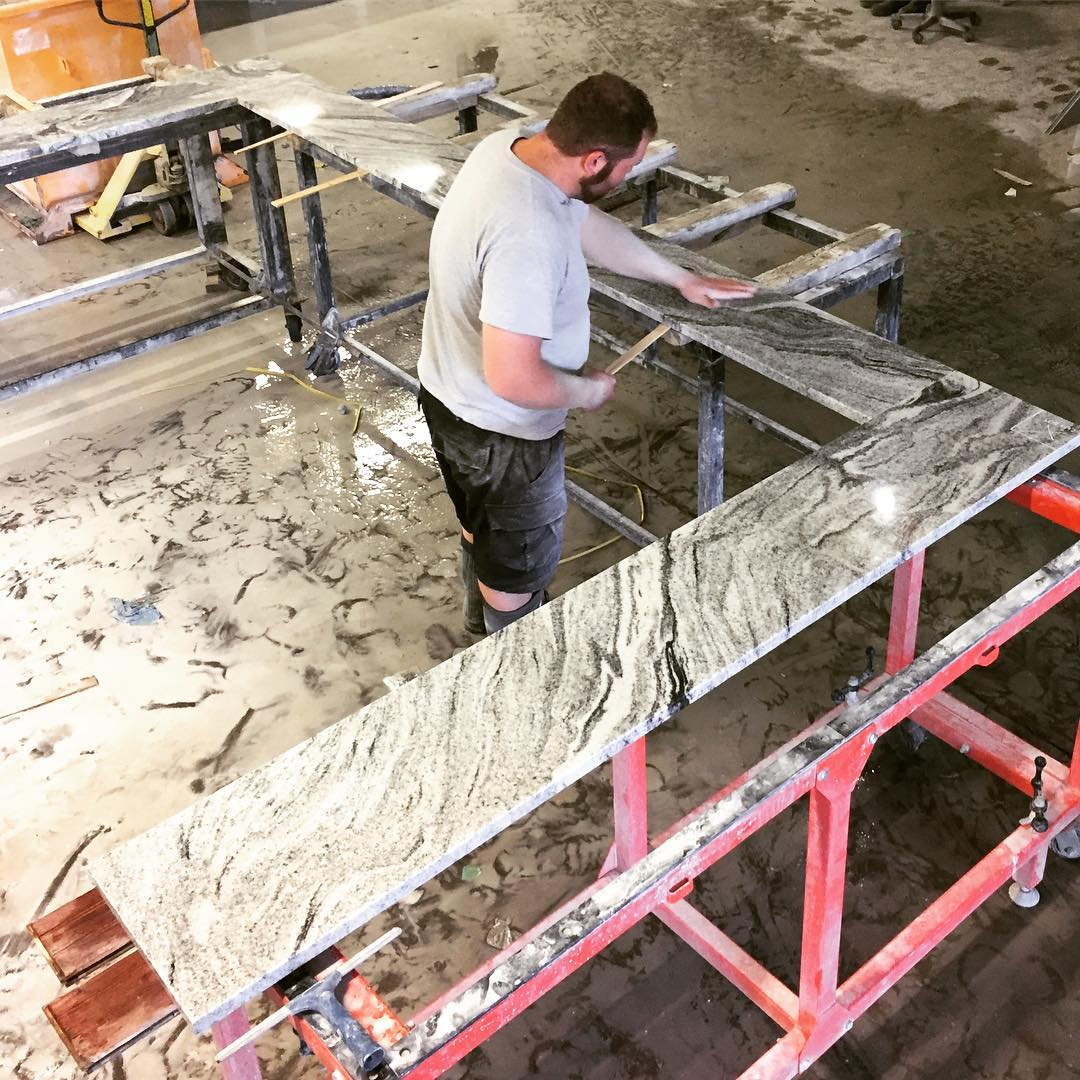 Viscount White granite top being prepped for outdoors at Prince Eddy's Brewing Company!