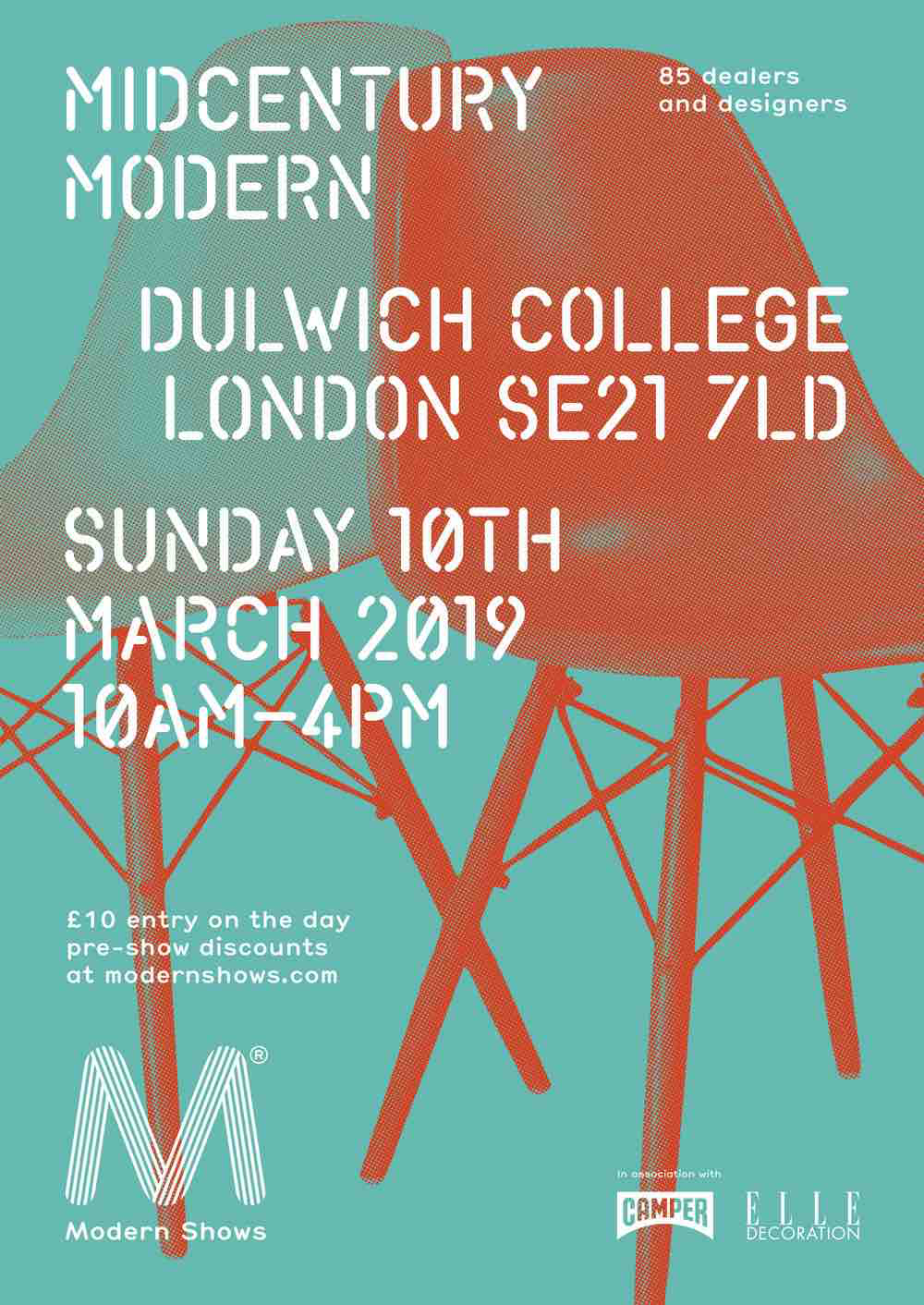 - POPPY IS THRILLED TO ANNOUNCE THAT SHE'LL BE EXHIBITING AGAIN AT MIDCENTURY MODERN, TAKING PLACE AT THE BEAUTIFUL DULWICH COLLEGE ON SUNDAY 10TH MARCH 2019.IF YOU'RE NOT FAMILIAR WITH THE SHOW, IT'S AN INSPIRING MIX OF MIDCENTURY FURNITURE AND COLLECTIBLES, COMBINED WITH A COMPLIMENTARY SELECTION OF CONTEMPORARY DESIGN.VISIT WWW.MODERNSHOWS.COM FOR FURTHER DETAILS (AND ADVANCED TICKET DISCOUNTS)POPPY WILL BE LOCATED UPSTAIRS IN THE CONTEMPORARY ROOM.