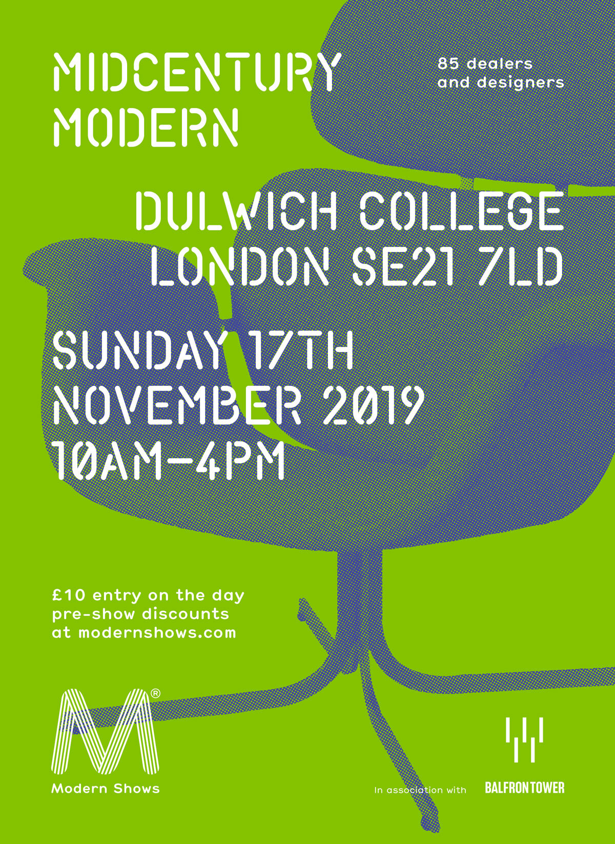- POPPY WILL BE RETURNING TO EXHIBIT AT THE WONDERFUL MIDCENTURY MODERN SHOW, TAKING PLACE AT DULWICH COLLEGE ON SUNDAY 17TH NOVEMBER 2019.AN INSPIRING MIX OF MIDCENTURY FURNITURE AND COLLECTIBLES, COMBINED WITH A COMPLIMENTARY SELECTION OF CONTEMPORARY DESIGN.FOR FURTHER DETAILS AND ADVANCED TICKET DISCOUNTS, (INCLUDING FREE ACCESS FOR THE FINAL HOUR OF THE SHOW) CLICK HERE. POPPY WILL BE LOCATED UPSTAIRS IN THE CONTEMPORARY ROOM.