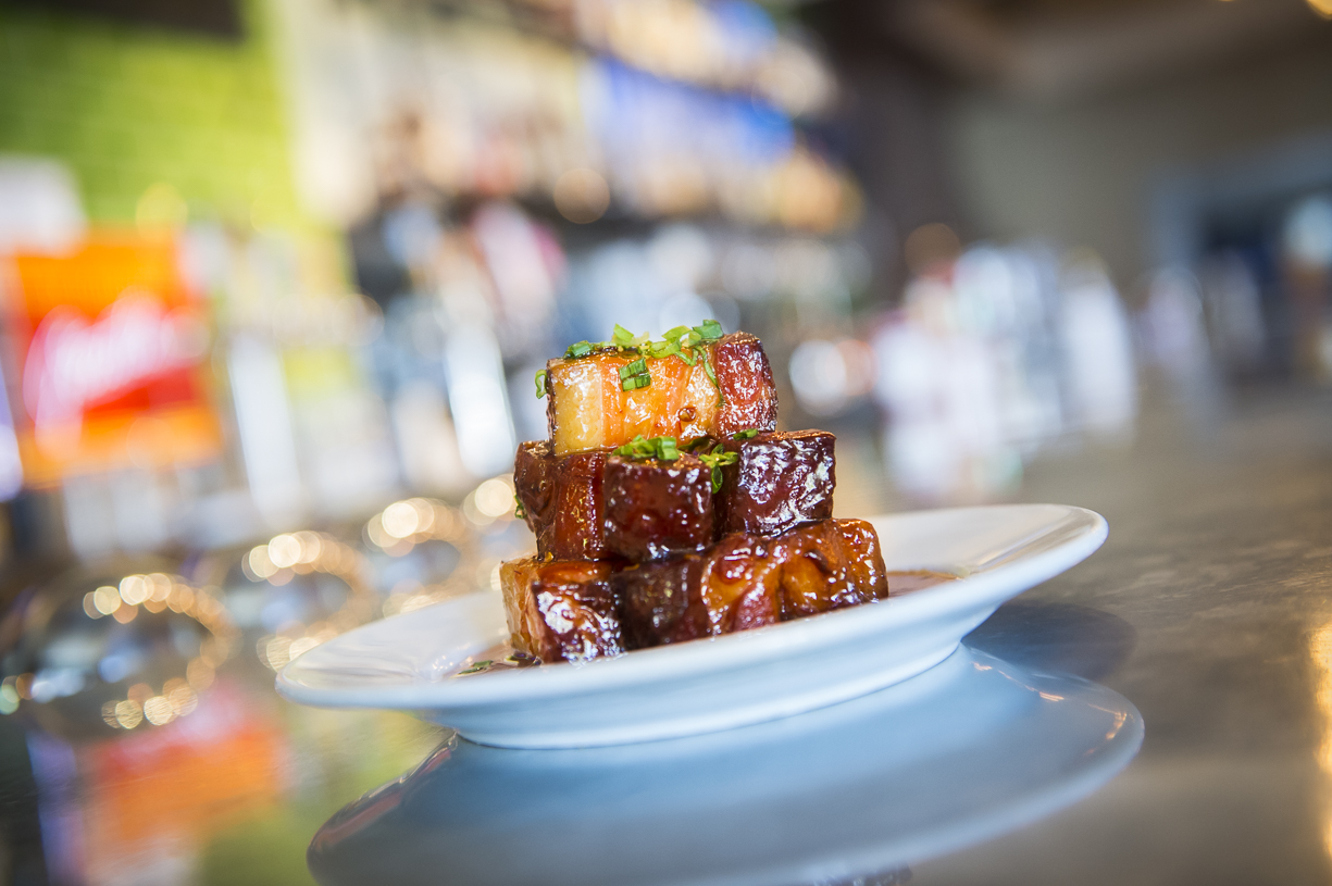 Braised Pork Belly Bacon Bitz with Maple Chipotle Glaze