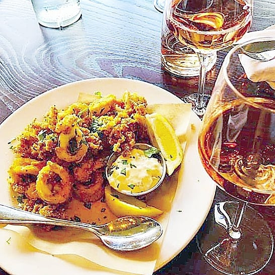 It's a calamari and rosé kind of day... 🥂 Share appetizers and drinks with your friends at Three seven days a week and twice on Sunday (when you count brunch). 😜 #happyhour #wineontap #roséallday