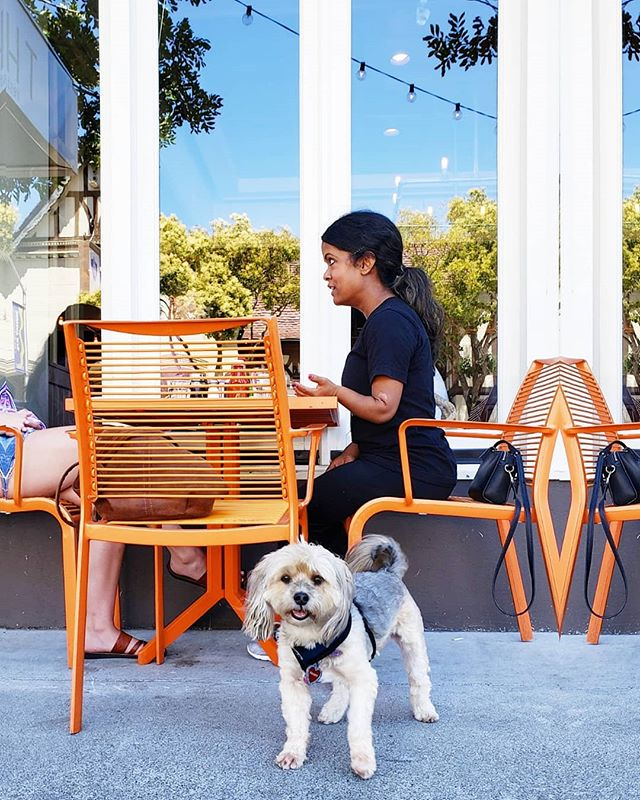 Meals are always more fun with furry friends! 🐶🐾 Bring your pup and snag one of our orange outdoor tables for lunch, dinner or a mid day coffee break. We are now OPEN all afternoon so you can enjoy the summertime anytime! #dogfriendly #dogmenu #outdoorseating