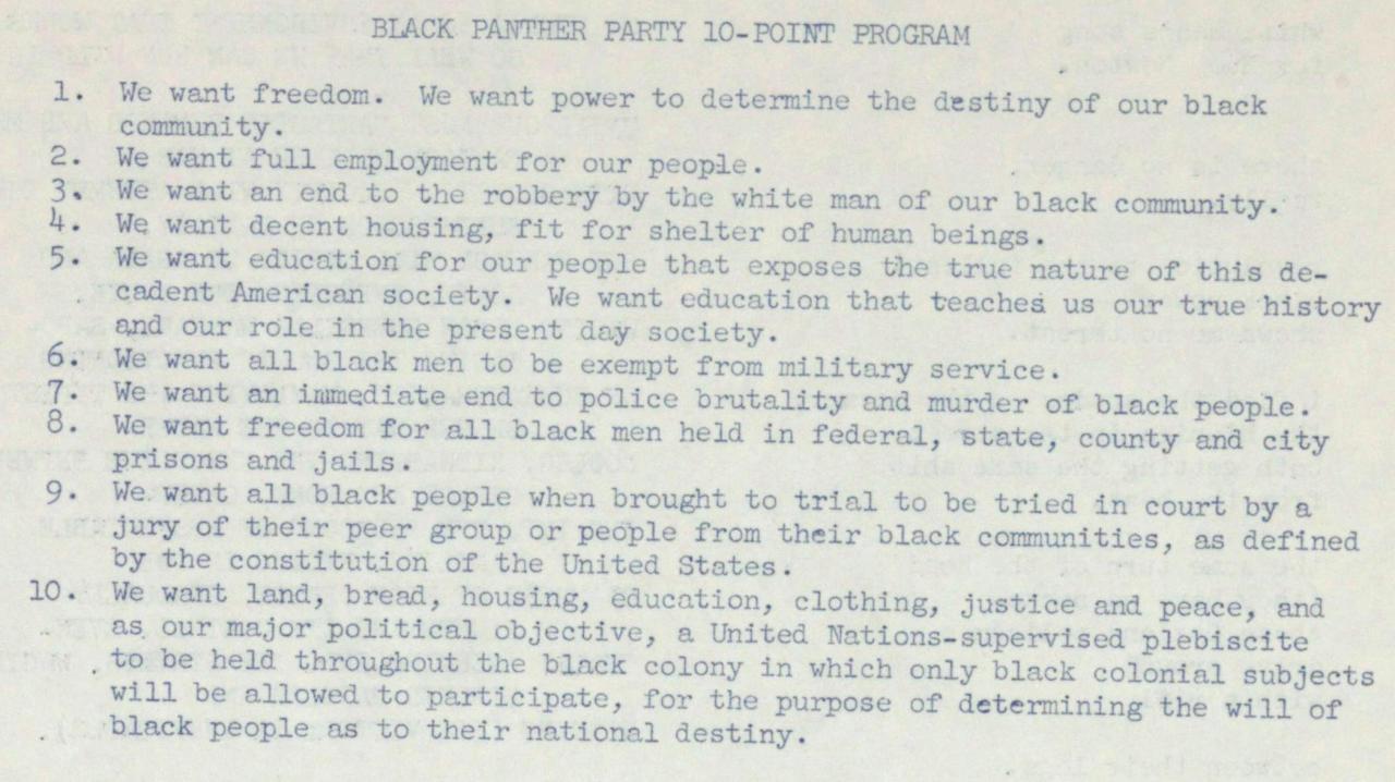 Black Panther Party Ten-Point Program