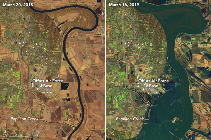 Missouri River - Omaha, NE - March 16-20;  Photos - NASA