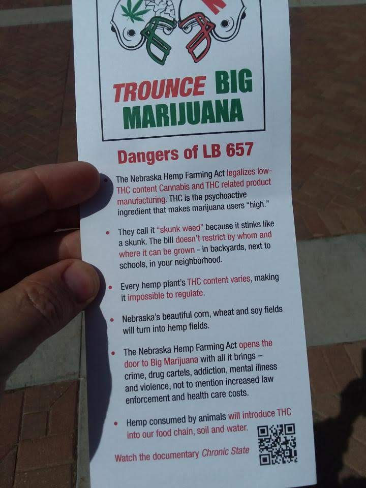 These Pamphlets do not credit SAM Nebraska but related posts on Facebook show the organization sharing similar information.