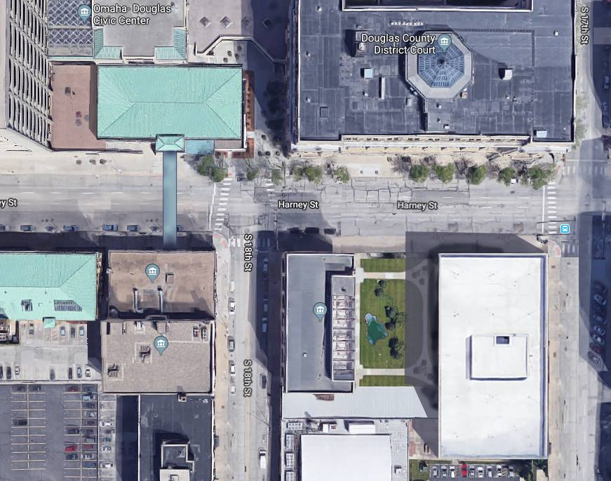 An artist rendering of a possible alternative design downtown, which keeps juvenile detention at its current location at 42nd and Woolworth.