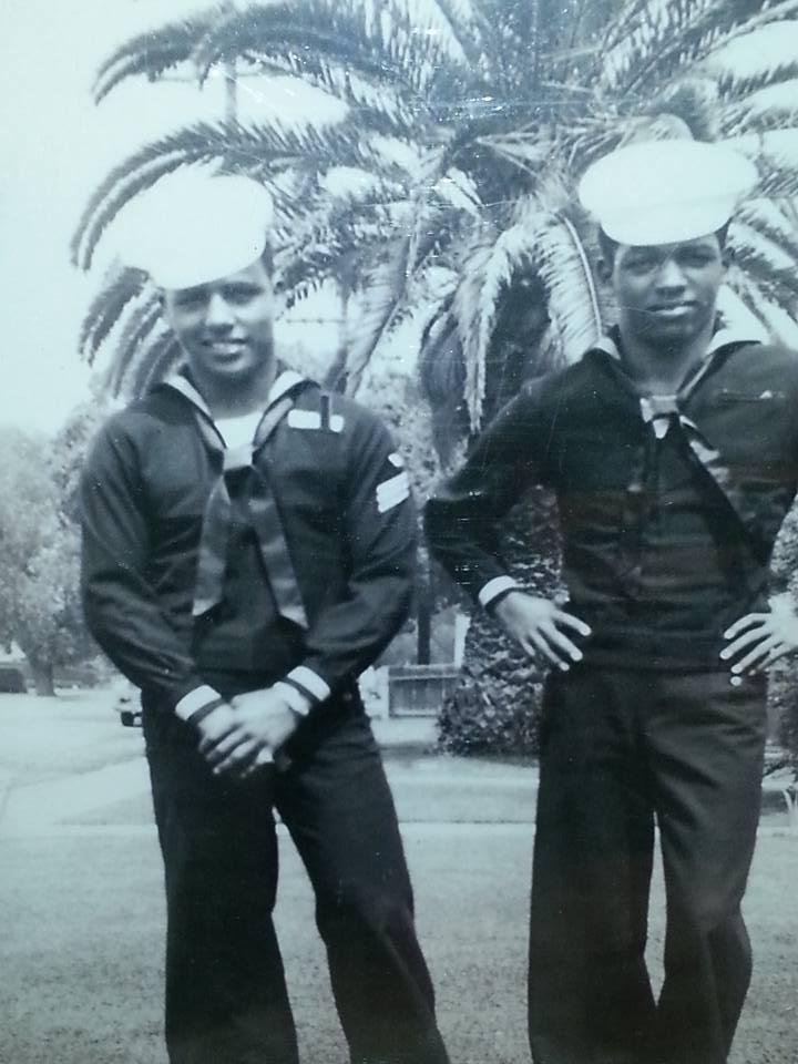 Daniel Goodwin Sr (left) in the U.S. Navy
