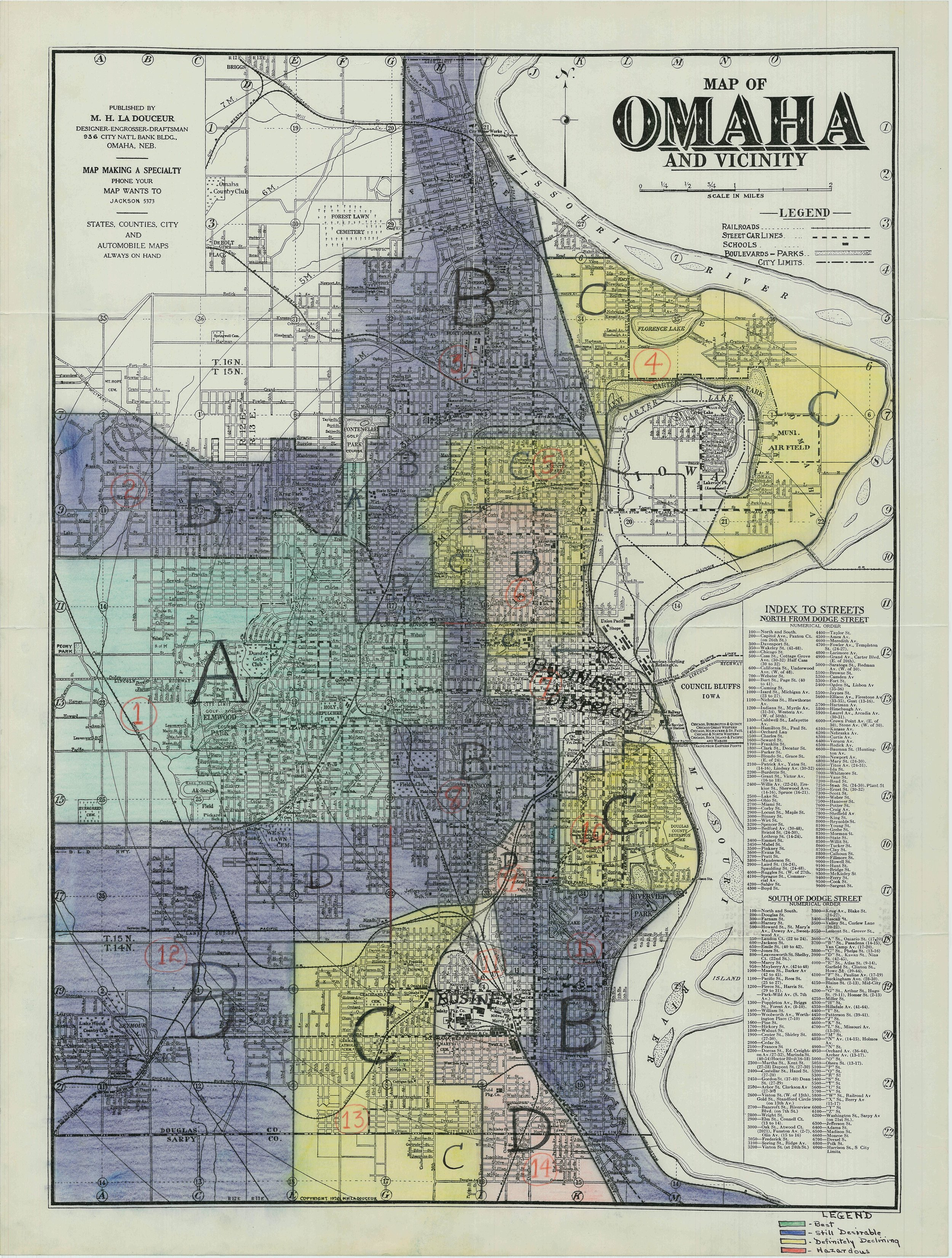 1937 Home Owner's Loan Corporation (HOLC) Map of Omaha