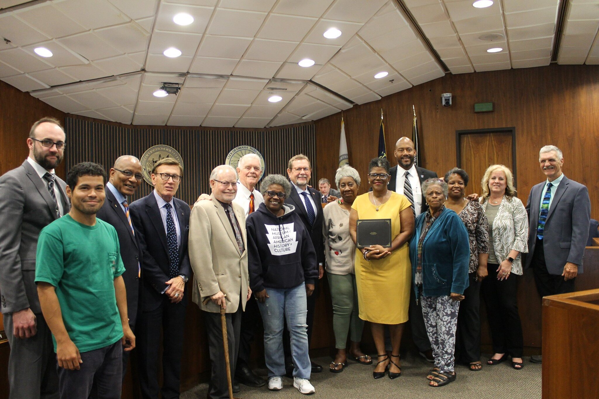 Douglas County Board of Commissioners and community leaders after a resolution passed 7 to 0, remembering the unlawful lynching of Will Brown.