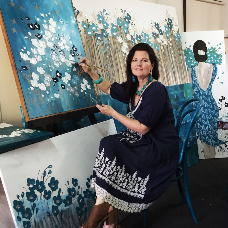 Naomi Crowther in her Batemans Bay Studio, NSW Australia.