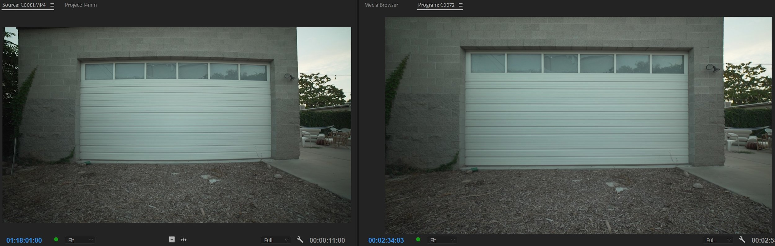 Ungraded . Left: Before. Right: After.