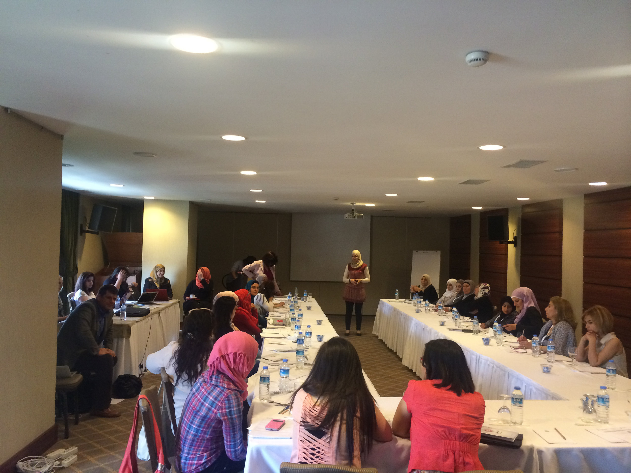 Our Turkey team providing training to women civil society leaders on the Turkish Syrian border