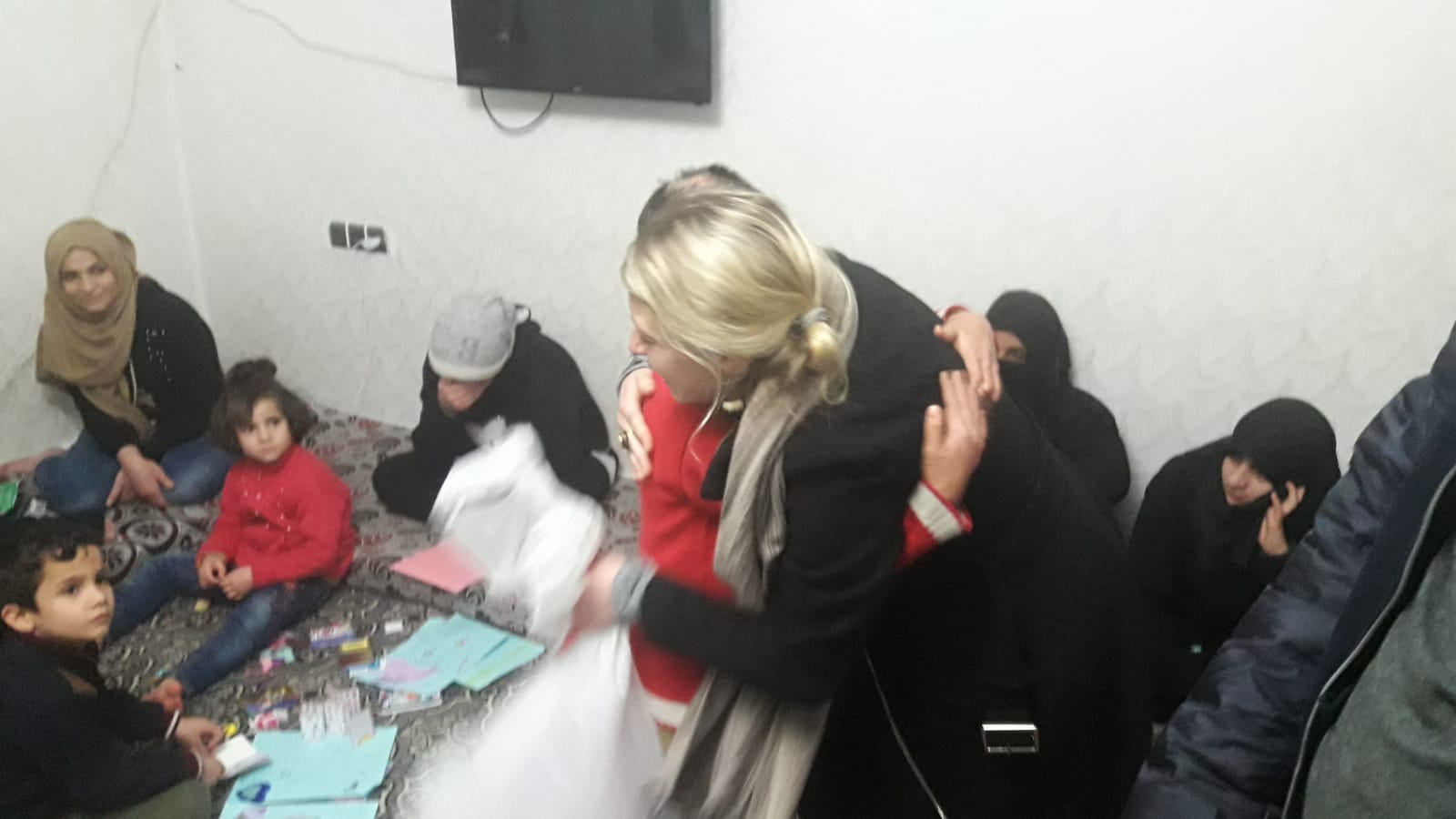 SETF outreach director, Natalie, receives a hug from Fatima at the Rehab Center in Turkey. Fatima and her sister, Diana, were severely burned after their internally displaced camp was bombed by the Assad Regime. They have been at the Center for at least two years and we have become close to these angels.