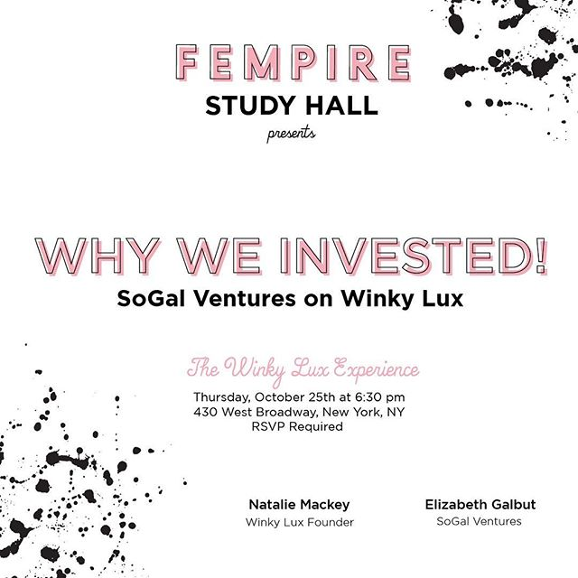SOLD OUT!! The FEMPIRE's 1st Study Hall. Can't wait to hear the Winky Lux case study presented by the founder herself Natalie Mackay and one of her earliest investors Elizabeth Galbut of SoGal Ventures at the Winky Lux Experience Store.  Wine, crostini, mochi, lipstick, awesome ladies and a whole lot of knowledge ... what could be better?? @winky_lux @design4innov8 @natmack1 @iamsogal #fempirerising #winkylux #sogalboss