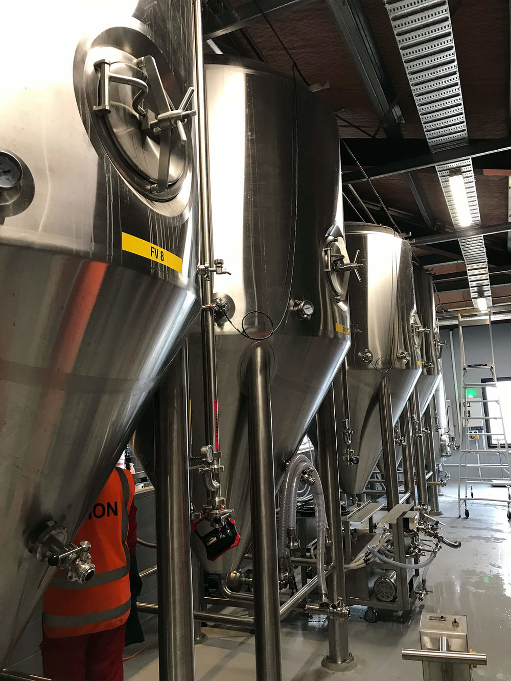Brewing equipment and process pipe lines at The Fermentist Brewery in Christchurch