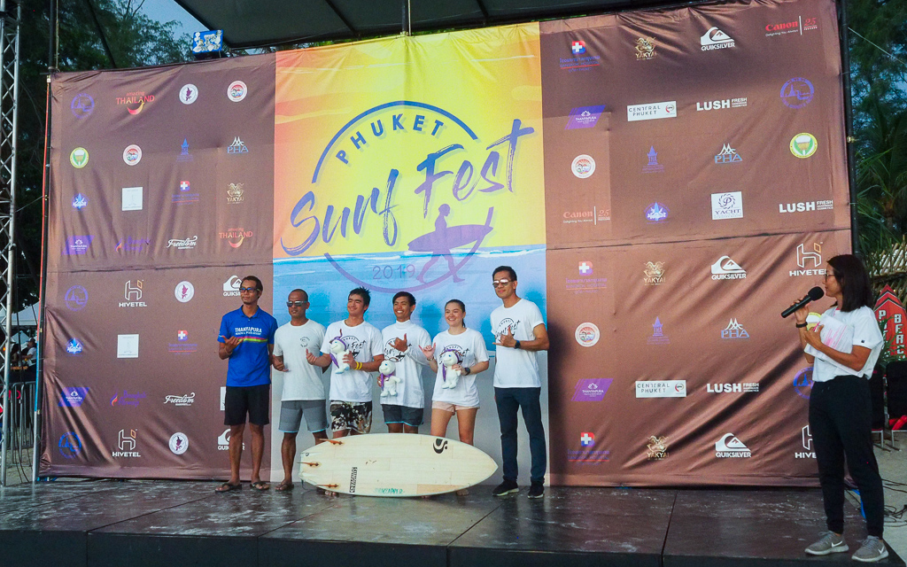 """The stars of the Thai Surf Team exhibiting the """"shaka hands"""""""